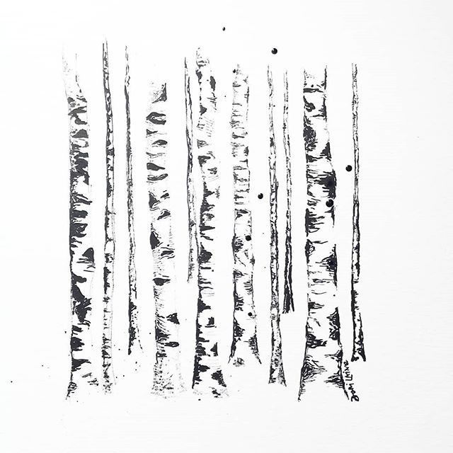 The monkey and I like to believe that when the wind blows through the leaves of the birch trees, they're waving at us and cheering us on.  #birch #birchoraspen #talktothetrees #inkonpaper #ink #indiaink #indiainkart #forestforthetrees #painted #birchtrees #blackandwhite #sketch #sketching #sketchingwithink #dorilainart