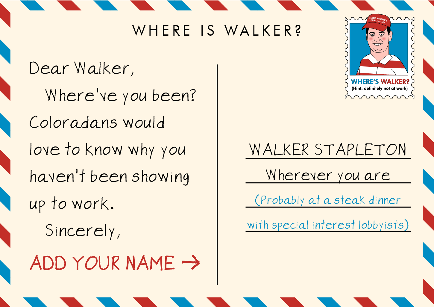Walker Stapleton doesn't show up to work