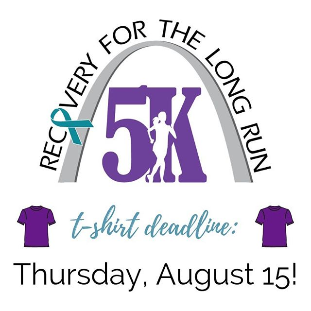 Love t-shirt's and interested in attending our 5k? The deadline for registering and being guaranteed a Recovery For The Long Run 5K purple sport-tek Tee (for adults) or cotton tee (for youth) is THURSDAY, AUGUST 15th! If you can't attend, but still want the tee, please message us by Thursday as well! $10 for youth and $15 for adult shirts! If you are interested in being a sponsor, then this deadline is also the cut off for you being able to have your name/logo on the shirt! Don't miss your chance to be featured on or to proudly wear the 1st QOPC 5K tee! Https://register.chronotrack.com/r/49184 🏃🏾‍♂️🏃🏼‍♀️✨ #5k #fundraiser #event #recovery #stlevents #stl #tshirts #deadline
