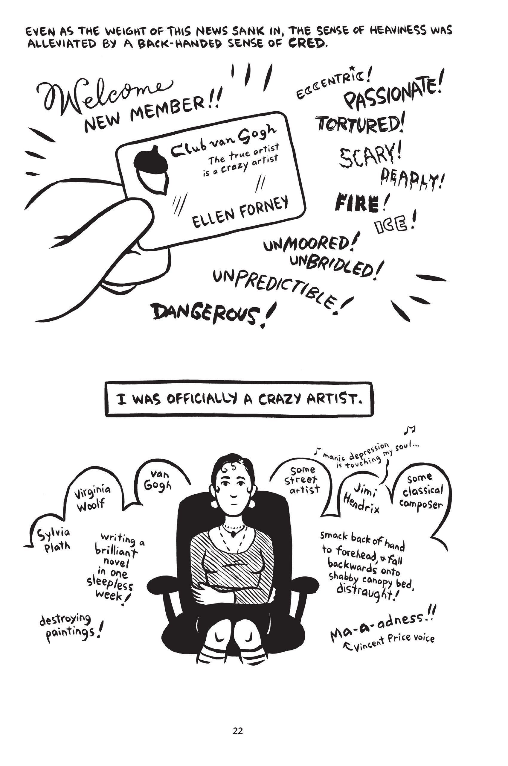 Image from Ellen Forney's graphic novel  Marbles: Mania, Depression, Michelangelo, and Me: A Graphic Memoir.
