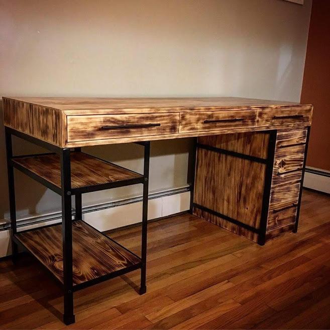 Metal and Wood Modern Desk
