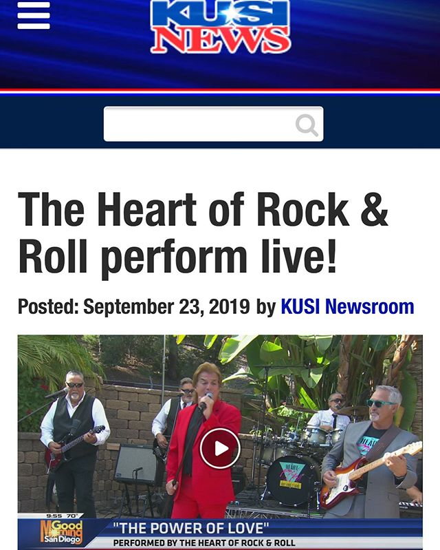 Tony's band, The Heart Of Rock & Roll (@hueytribute) played Good Morning San Diego this morning on @kusinews ... head over to their website or follow the link in our header to see the performance!