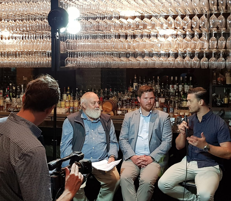 Livestream behind the scenes image with Bill Lark, Gavin Gillin and Ryan Gavin (left to right).