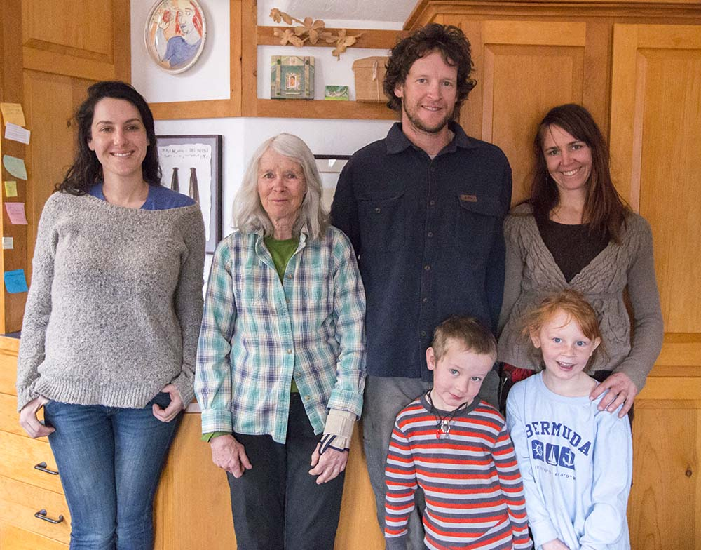 """From left to right, Lizzie Tilles, Liza Clarke, Tyler Ferguson, Ana Worswick,   Tyler's daughter and Ana's son at their home in Ridgway, Colorado. """"I feel very fortunate to have my family living right here on this ranch. I couldn't do this without them,"""" says Liza."""