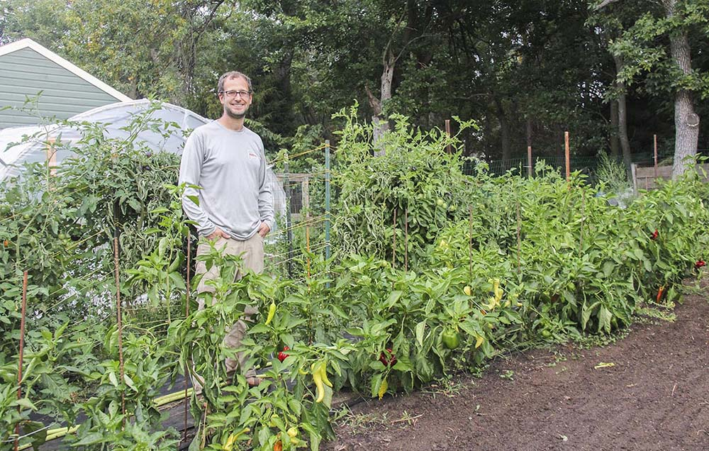 Market gardener Ian Caselli at his home in Sioux Falls, South Dakota.