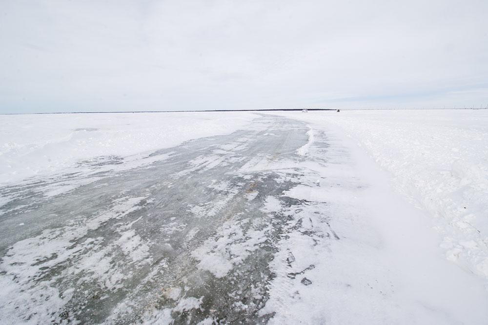Frozen over Devils Lake.