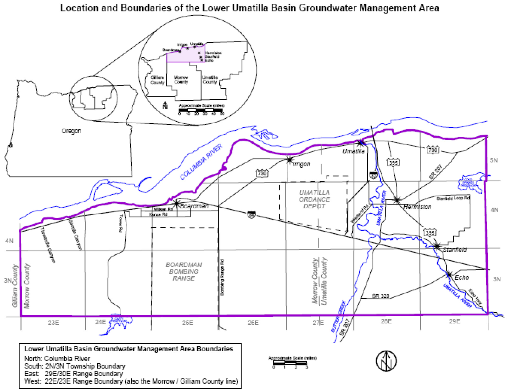 The Lower Umatilla Basin Groundwater Management Area Boundary designated by DEQ. Map and image courtesy of Oregon.gov