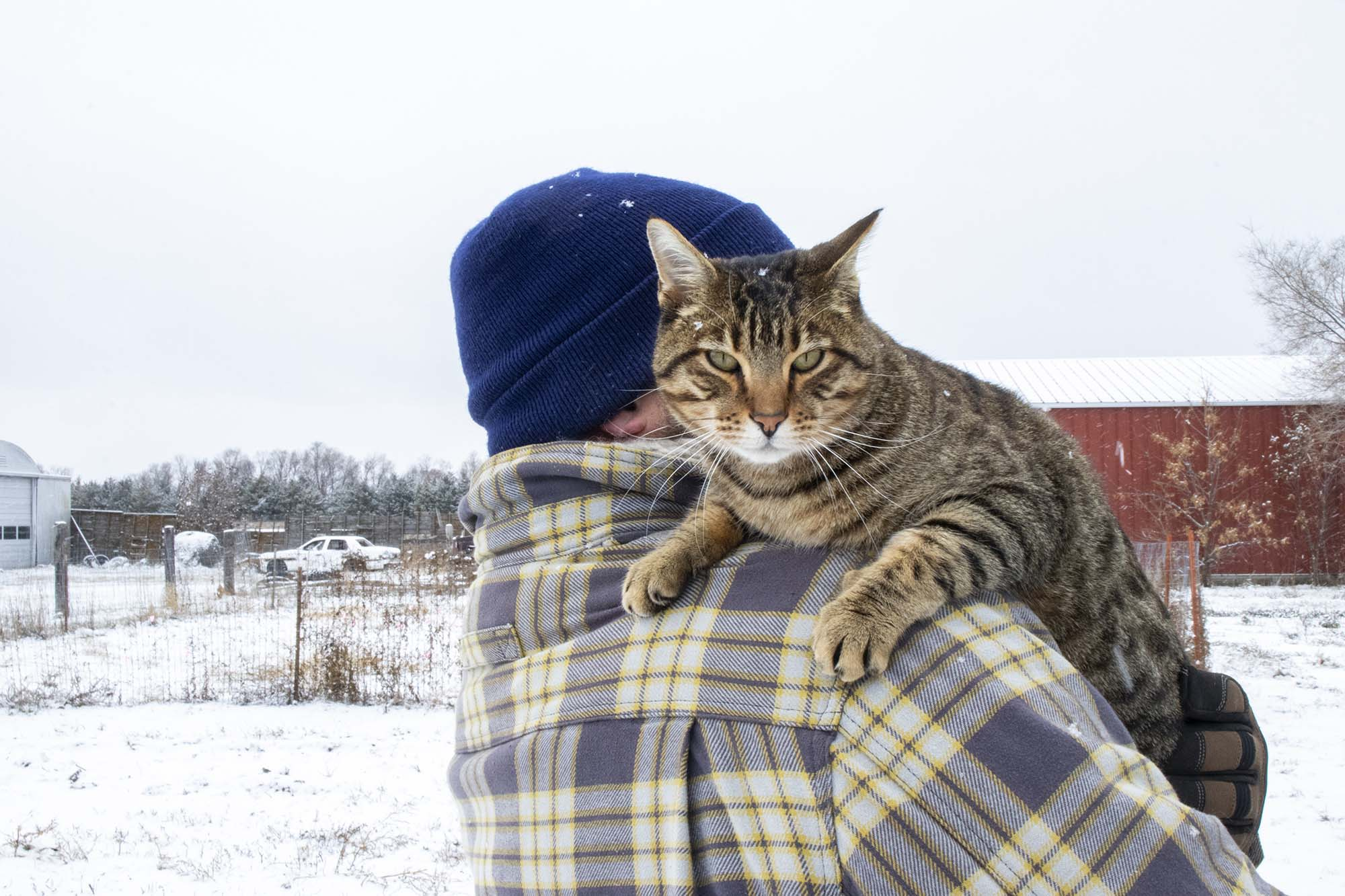 Matt Geraets and farm cat Gerald at B&G Produce, 20 miles east of Pierre, South Dakota.