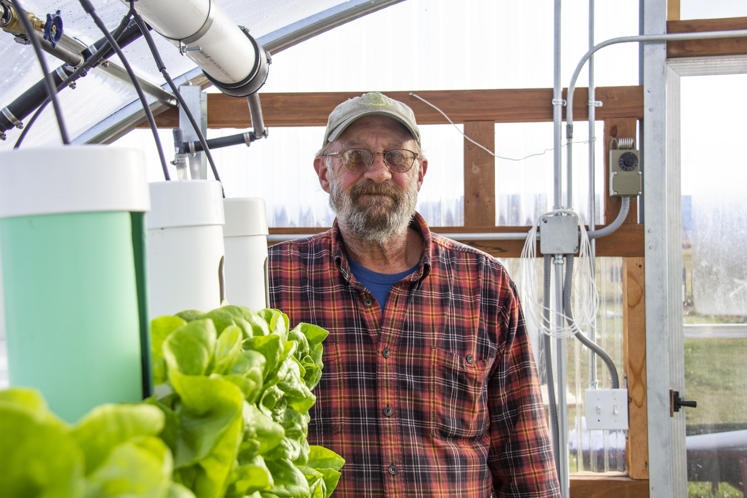 Joe Wesnitzer in his hydroponic greenhouse in Sheridan, Wyoming.