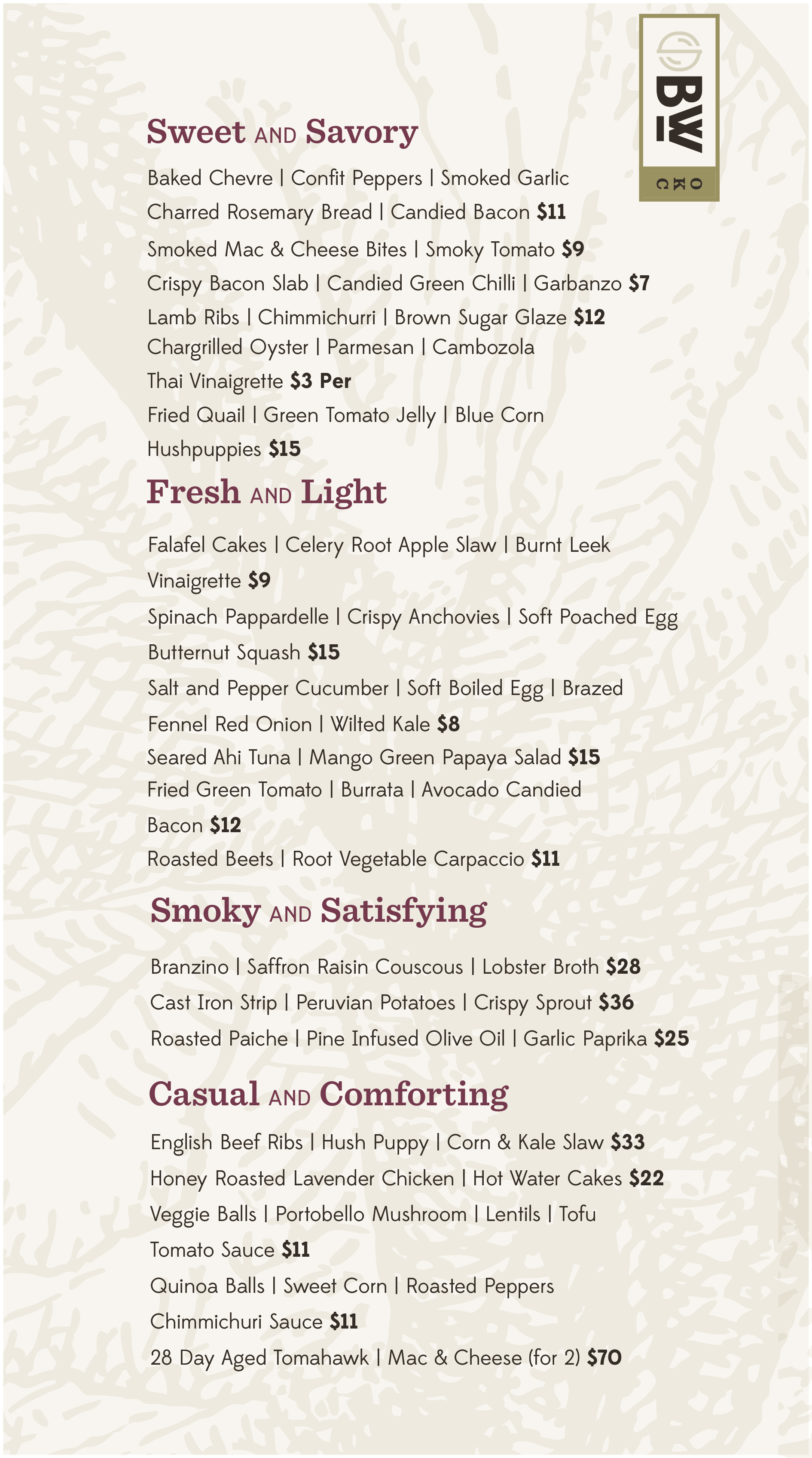 Black Walnut Food Menu