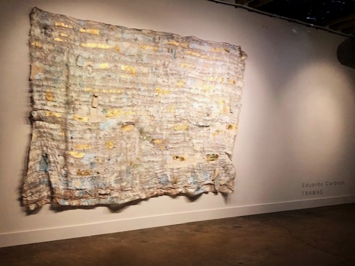 """Burlap tapestry that hung behind the episode interview """"Tramas"""" by Eduardo Cardozo"""