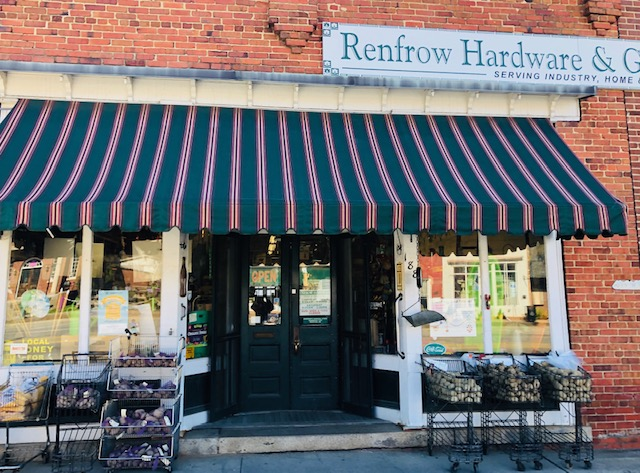 "Renfrow hardware and general merchandise- ""serving industry, home & farm since 1900"""
