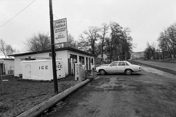 "The Antelope Cafe, converted into ""Zorba the Buddha Rajneesh Restaurant"" in 1982."