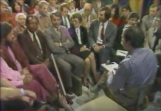 Town Hall Filming, May 1982. From Left: Jayananda, Federal Mediator John Mathis, Antelope City Attorney Keith Mabely, Antelope Mayor Margaret Hill, and 1000 Friends of Oregon Attorney Paul Gearhardt.