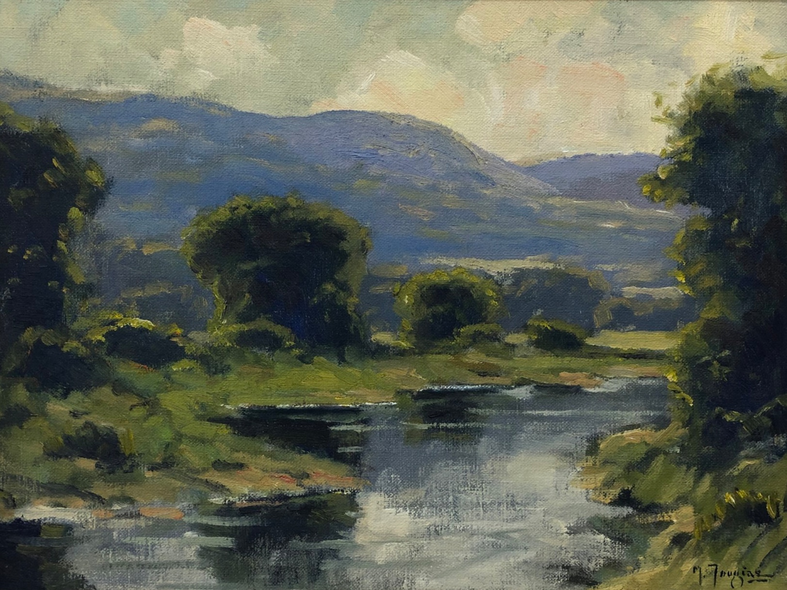 Mark Tougias River View Oil on canvas 12 x 16 in.