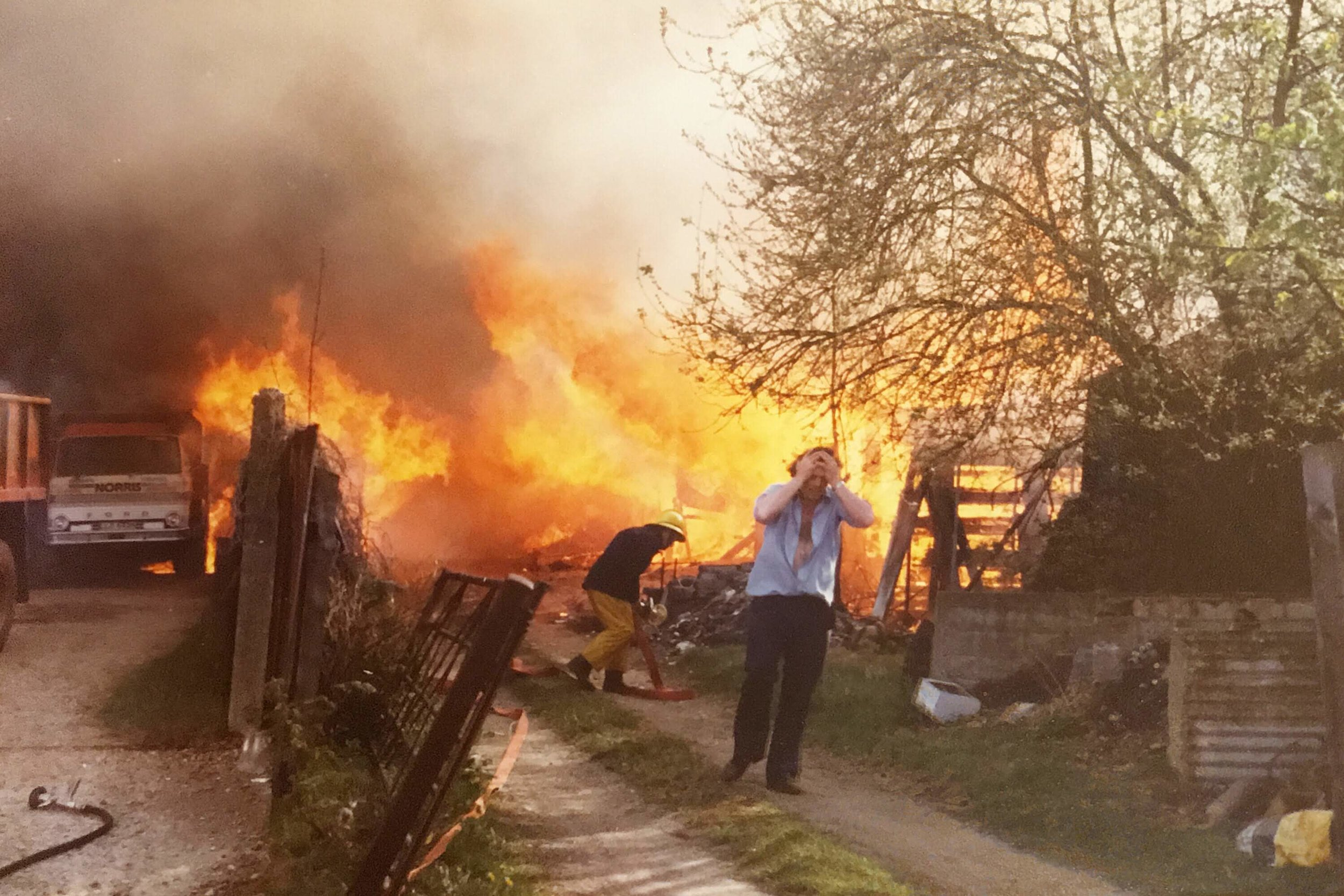The huge fire burned everything in the yard including lorries and cars