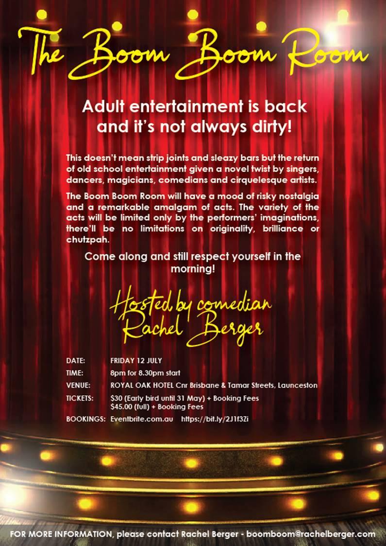 Rachel Berger- The Boom Boom Room- upcoming event in Launceston