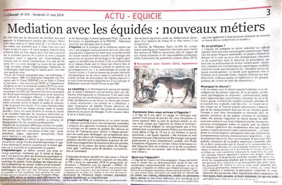 Journal Le Cheval, interview par Véronique Robin - Juin 2019