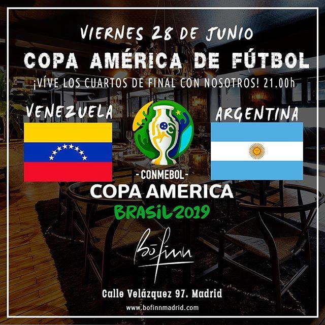 ¡Llegan los CUARTOS DE FINAL de la COPA AMÉRICA DE FÚTBOL! #CopaAméricaFútbol2019. Vente a CENAR y disfrutar de los partidos con nosotros 😈🍺 ¡AMBIENTE ASEGURADO! #BoFinnSportsBar #bofinnmadrid #bofinnrestaurante #fútbol _ #sportsbar #restaurantesmadrid #gastrobar #sitiosdemadrid #foodie #lovemadrid #bofinn #afterwork #gastropub #cocinamediterranea #callevelazquez #madrid  #deportes #sports