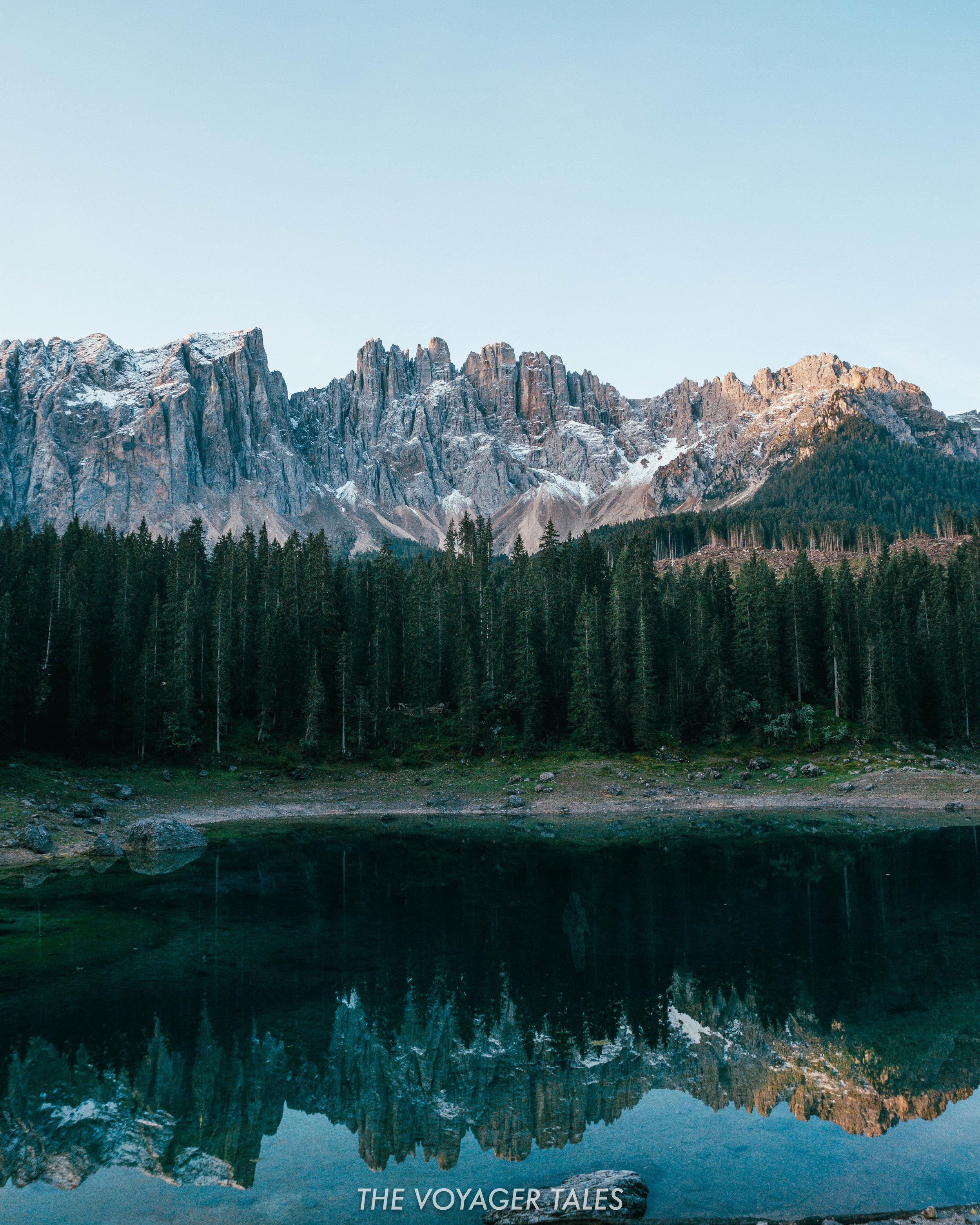 Lago di Carezza with the Dolomites in the background