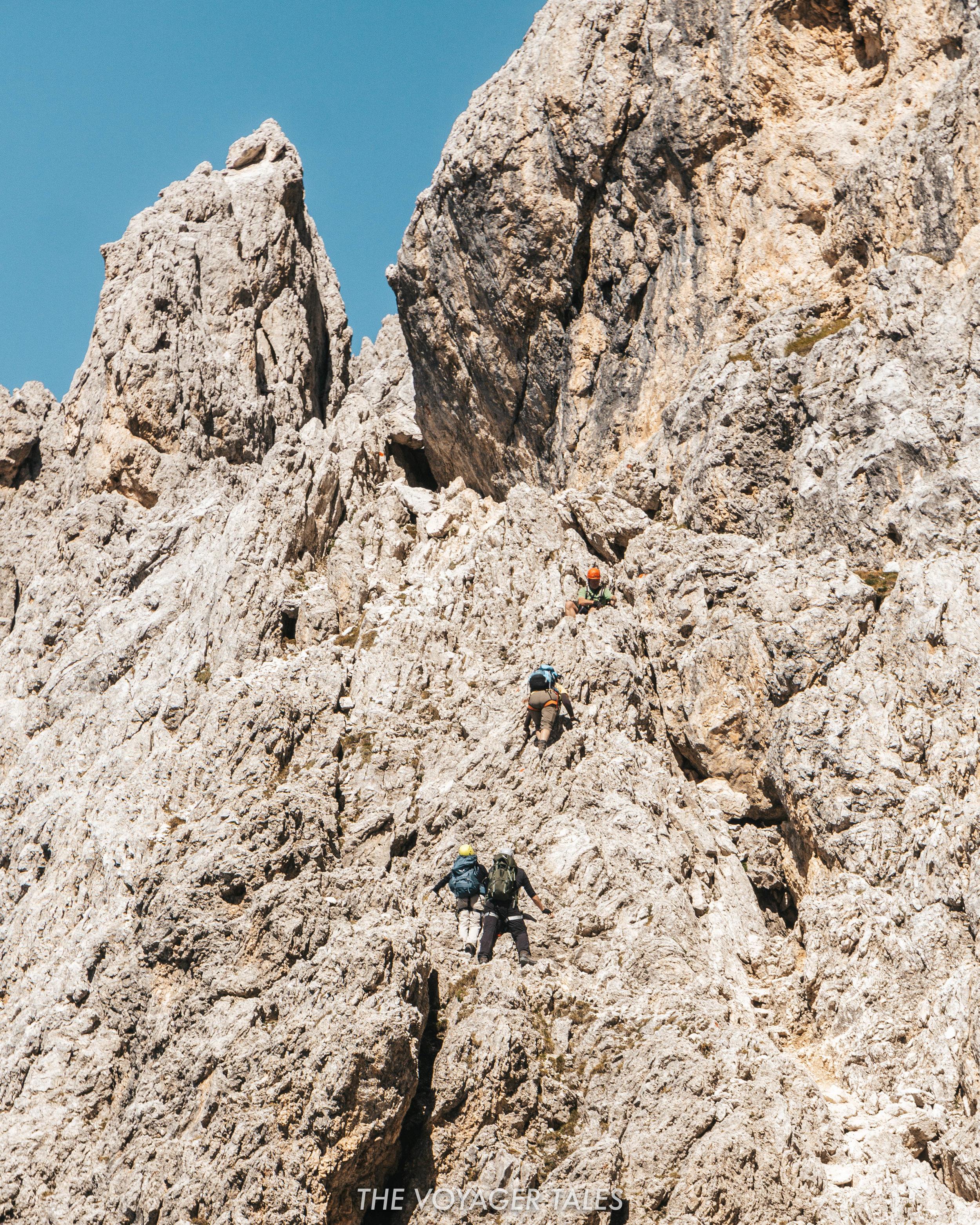 Via Feratta Passo Santner in the Rosengarten Mountains, Italy