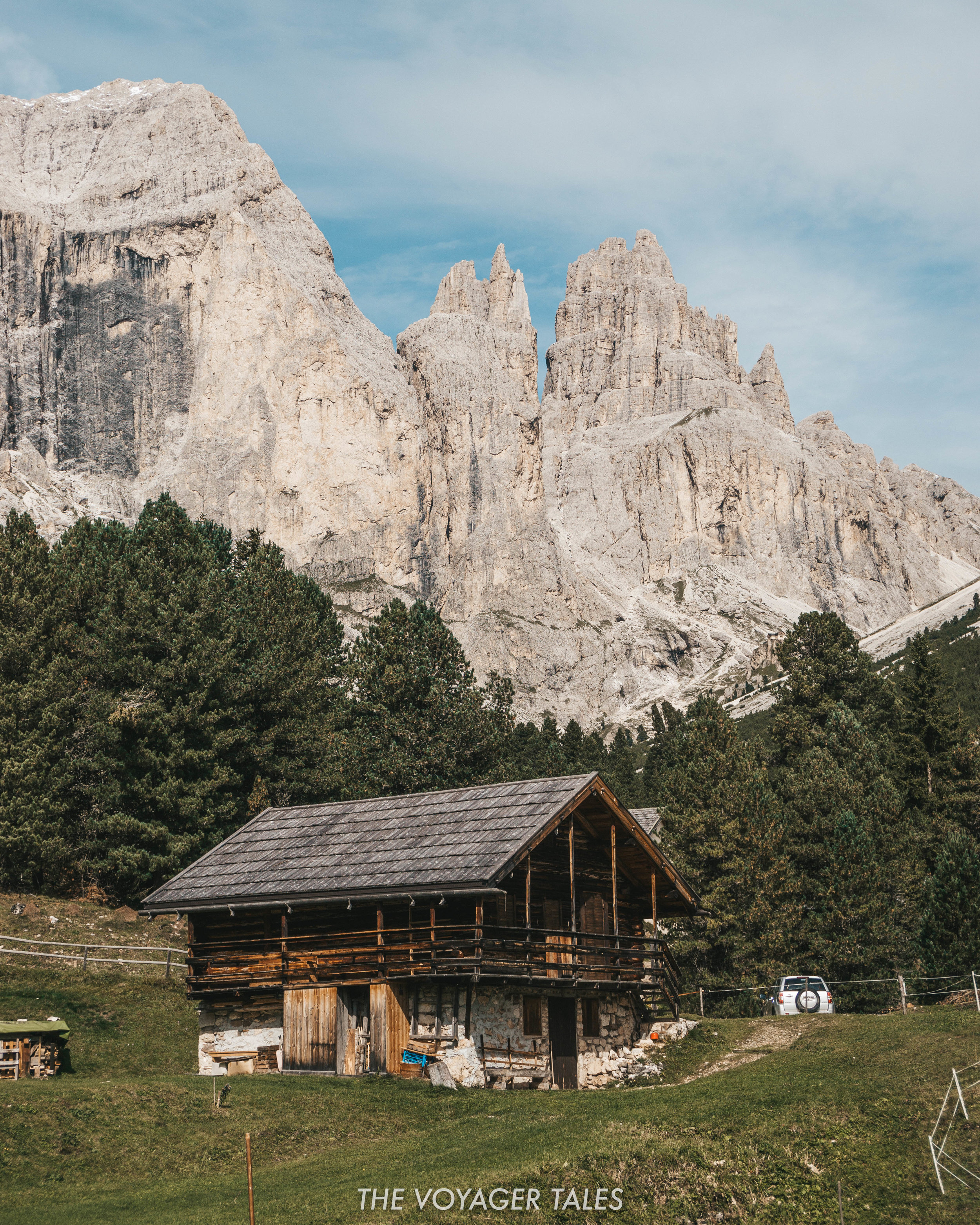 A classic Italian mountain hut in the Rosengarten Mountain, the Dolomites.