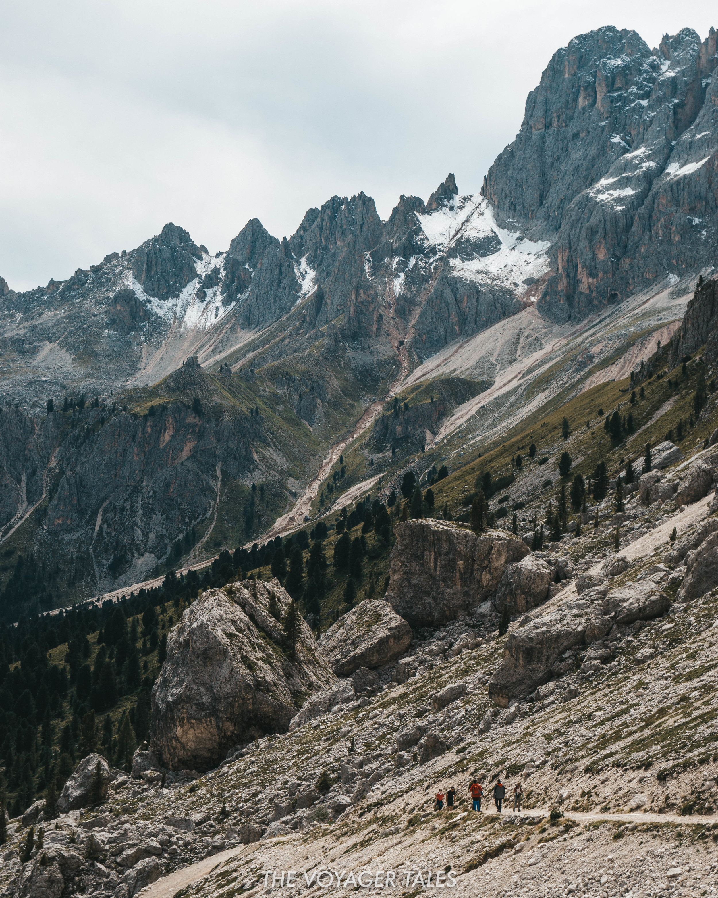 Hiking from Pas de la Coronelle in the Dolomites, Italy