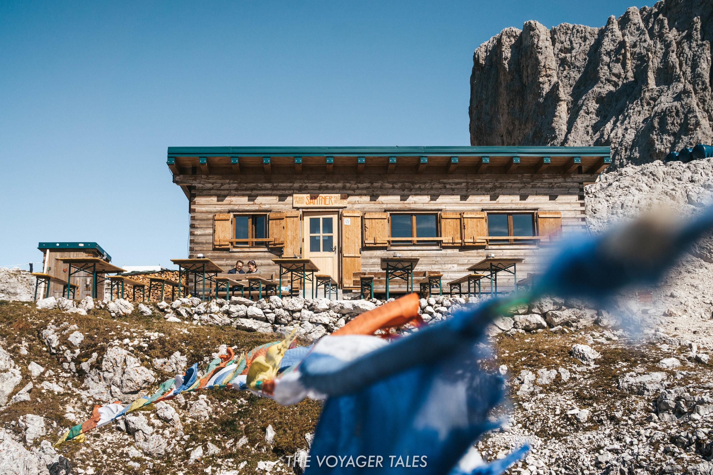 Rifugio Passo Santner in the Rosengarten mountains, Italy