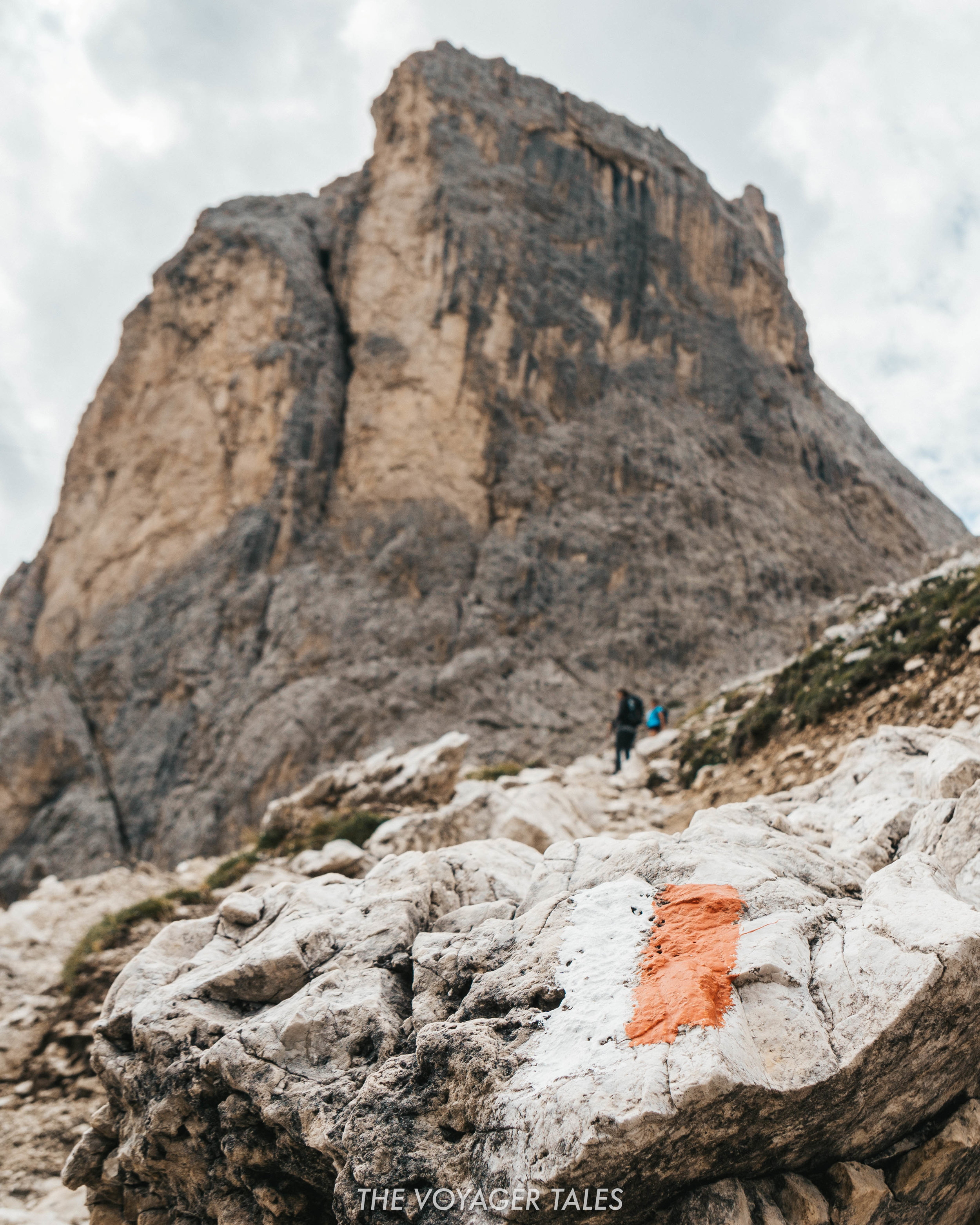 Markers to guide hikers on their way in the Dolomites, Italy