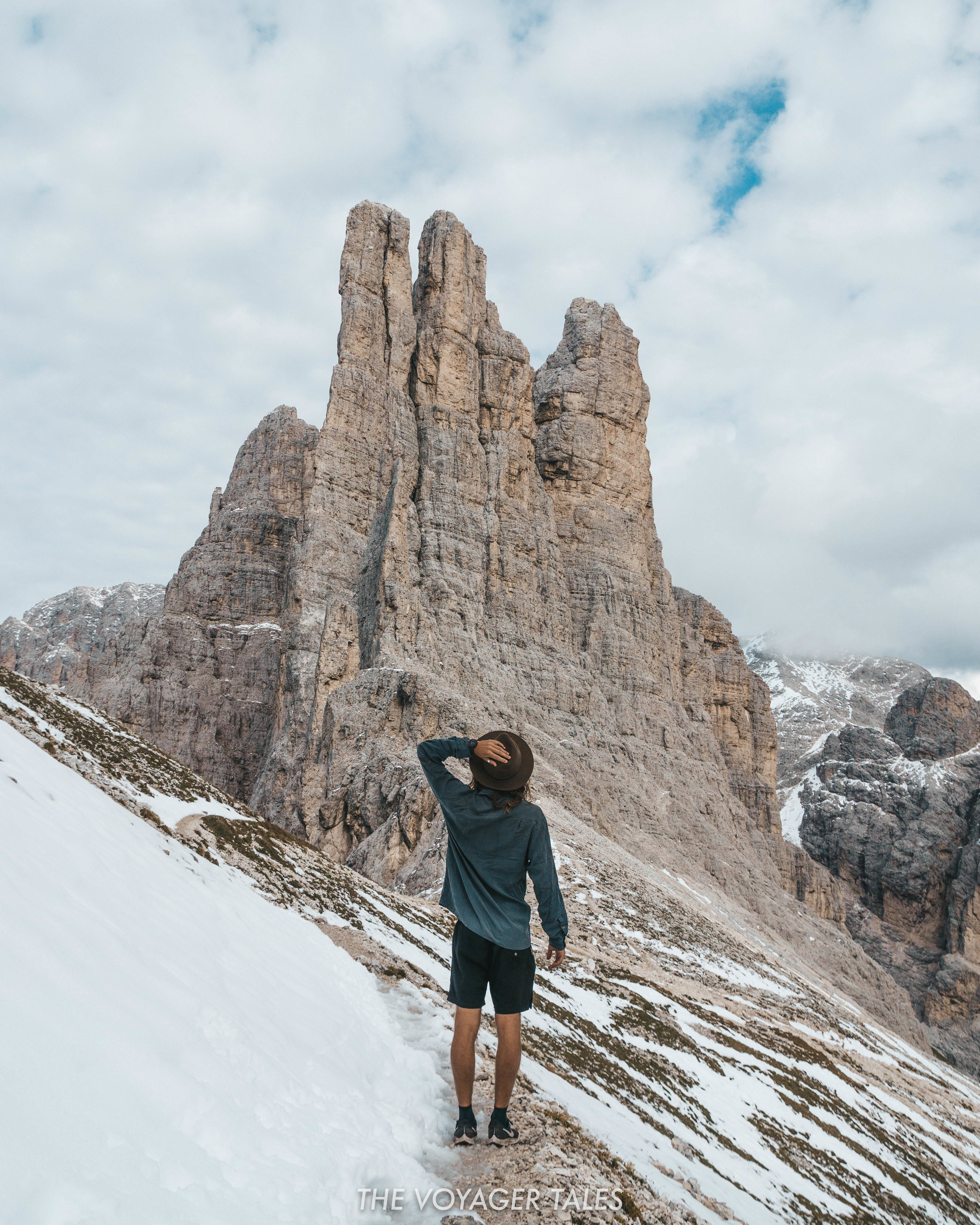 Admiring the view of the Vajolet Towers from Passo Santner
