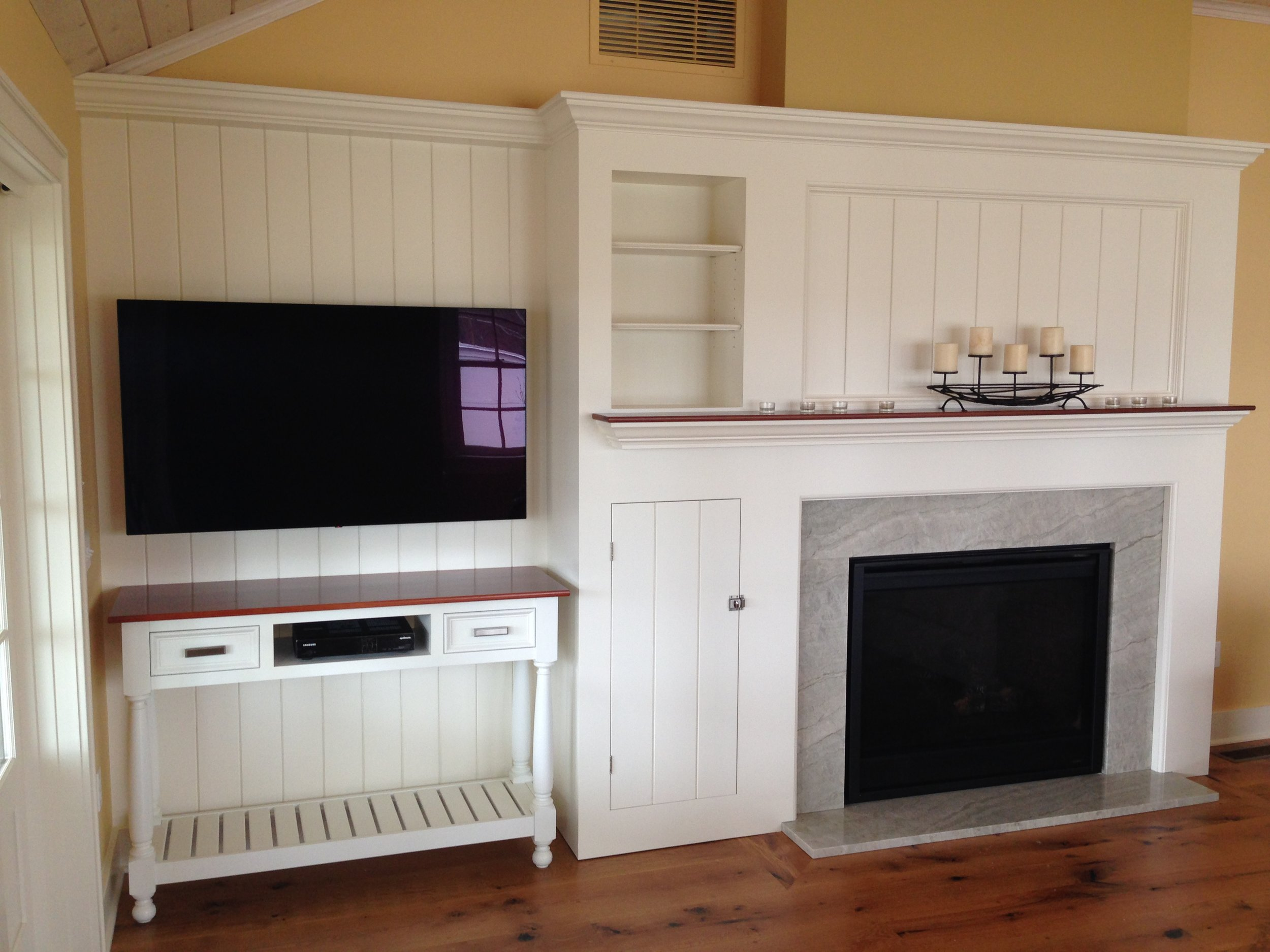 Cottage Fireplace with Cherry Mantel, and TV Console 1.jpg