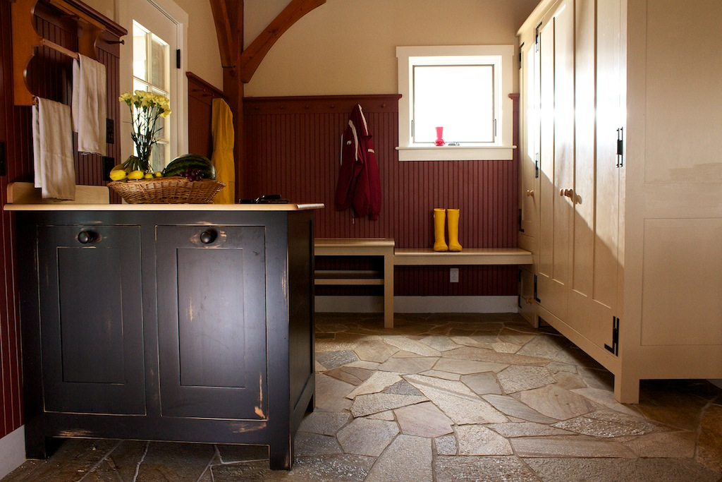 Farmhouse Mudroom with Recycle Center, Closets, Benches, and Hanging Pegs 1.jpg