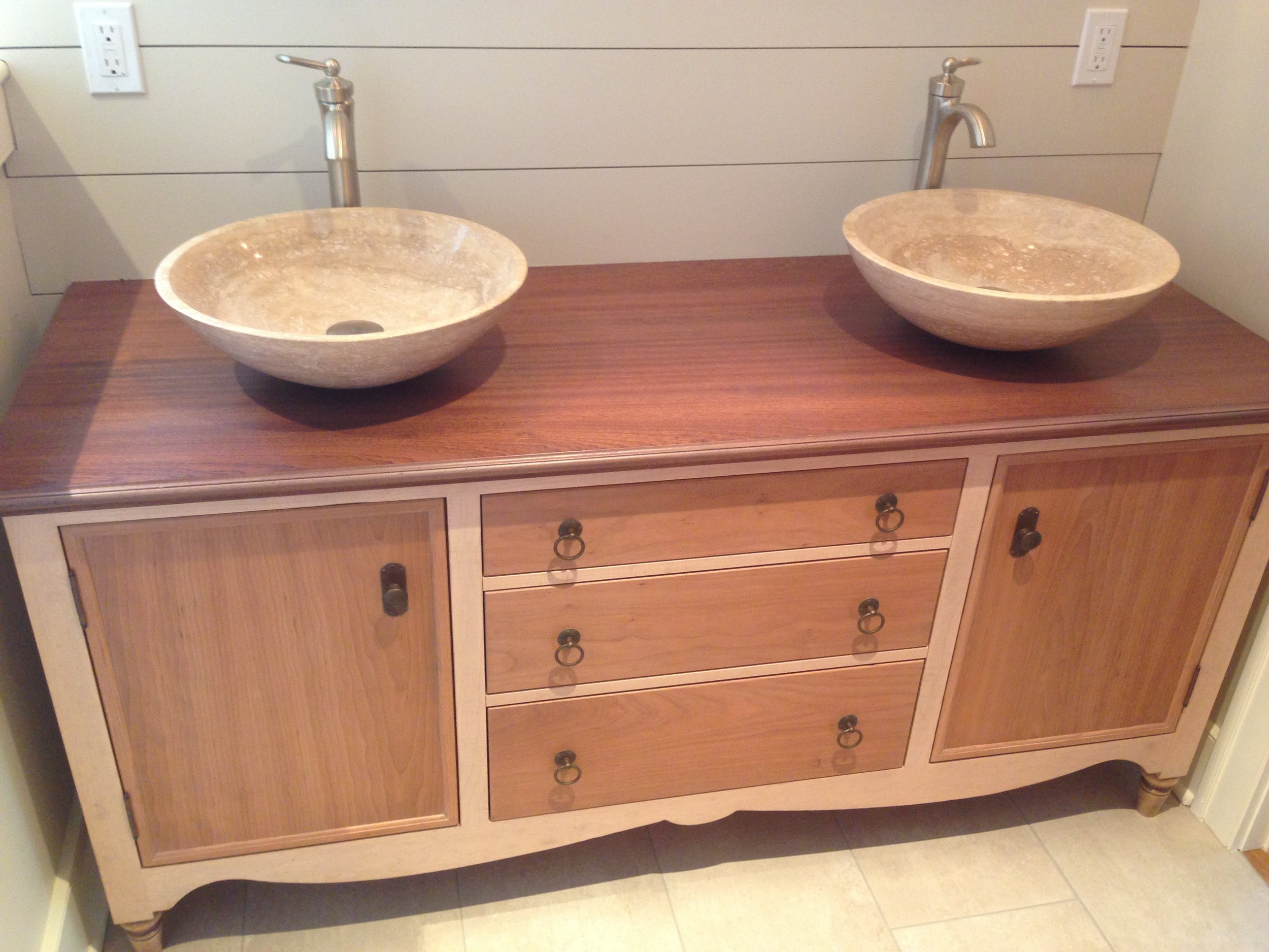 Master Bath Vanity of Maple and Cherry, with Mahogany Top, and Travertine Vessel Sinks 2.jpg