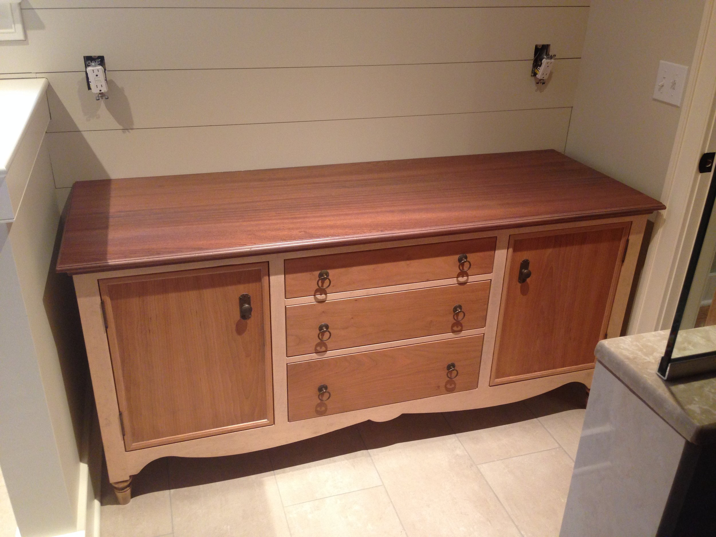 Master Bath Vanity of Maple and Cherry, with Mahogany Top, and Travertine Vessel Sinks 5.jpg