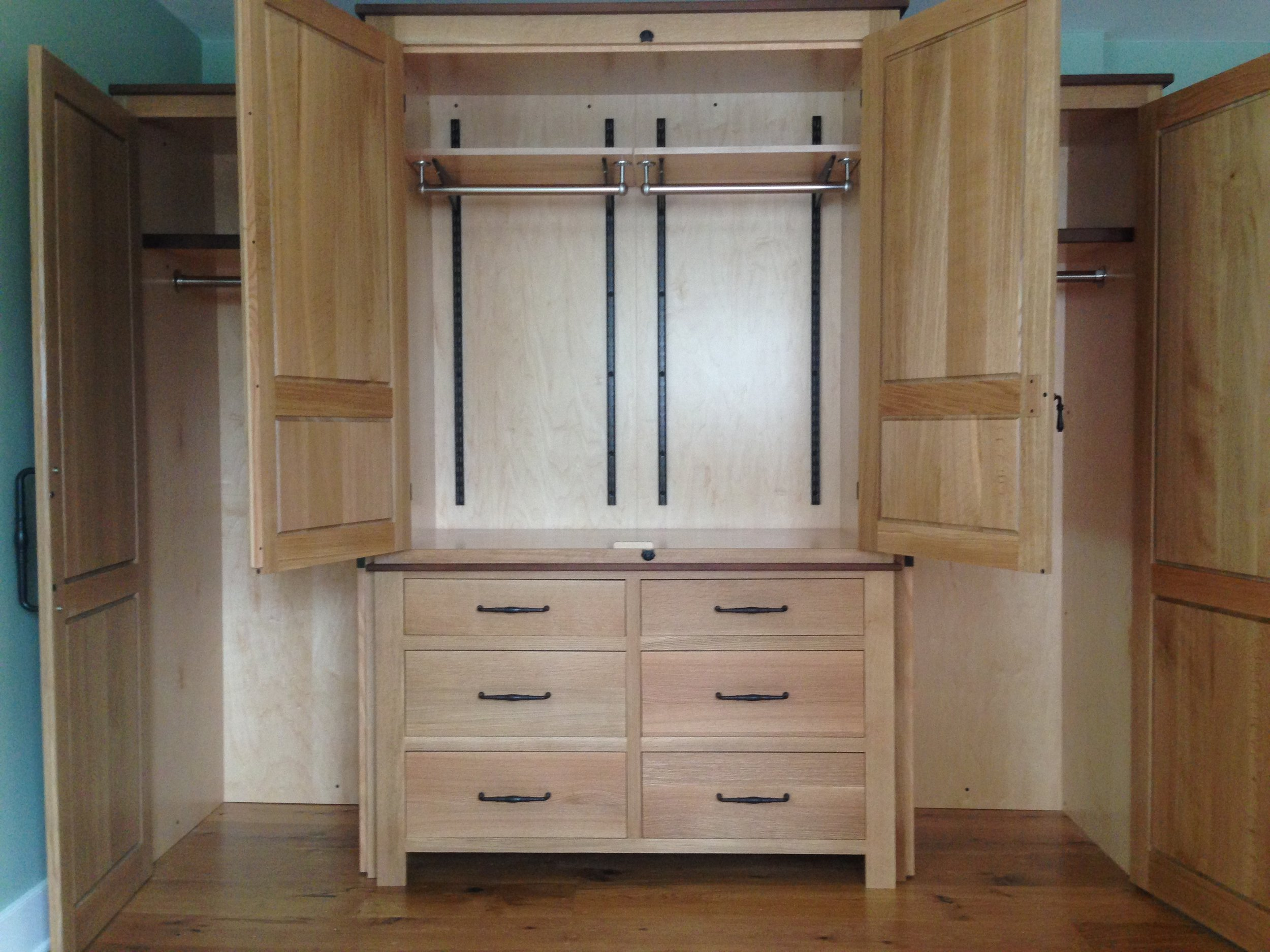 Rough Sawn Oak His:Hers Wardrobe with Walnut Accents 2.jpg