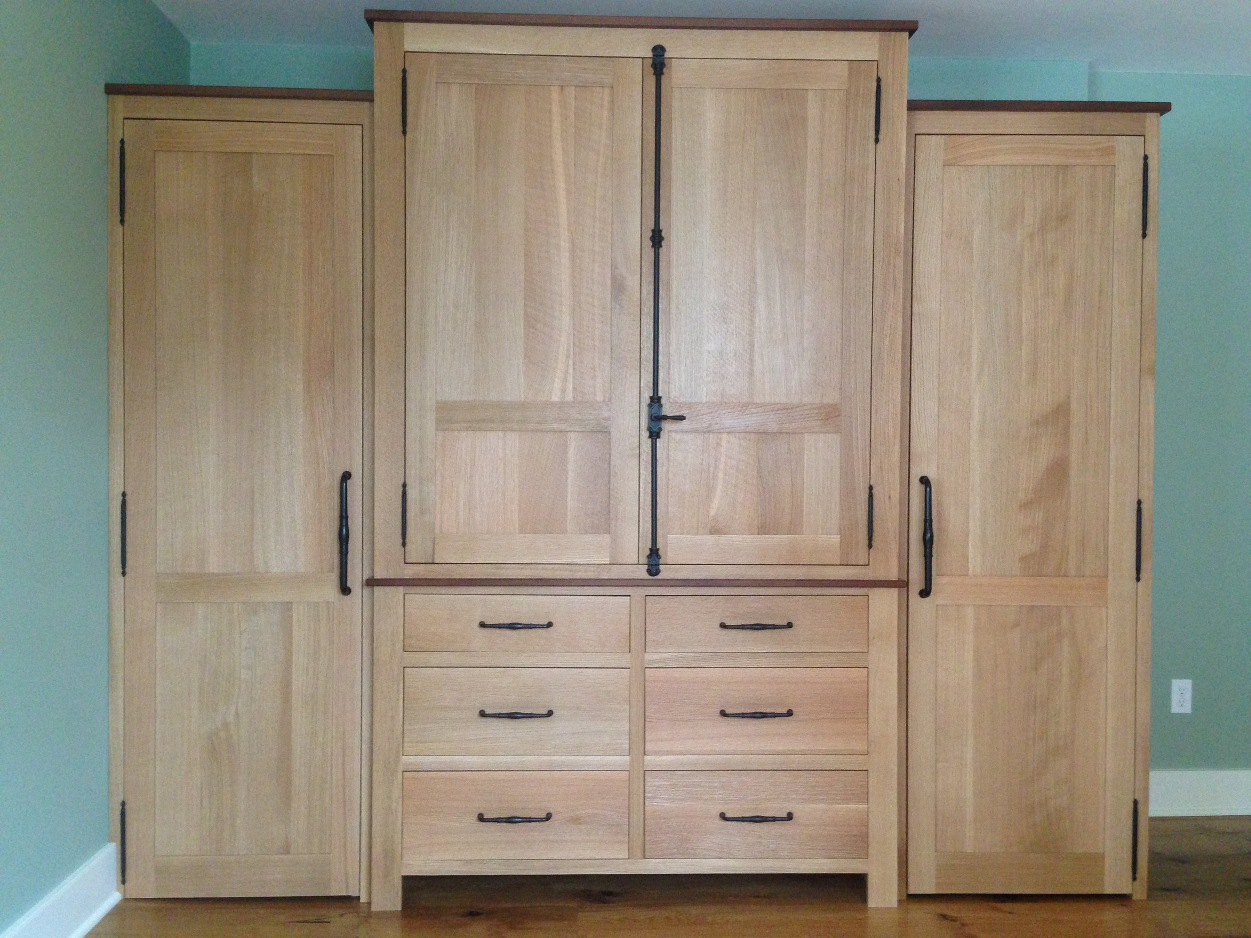 Rough Sawn Oak His:Hers Wardrobe with Walnut Accents 8.jpg