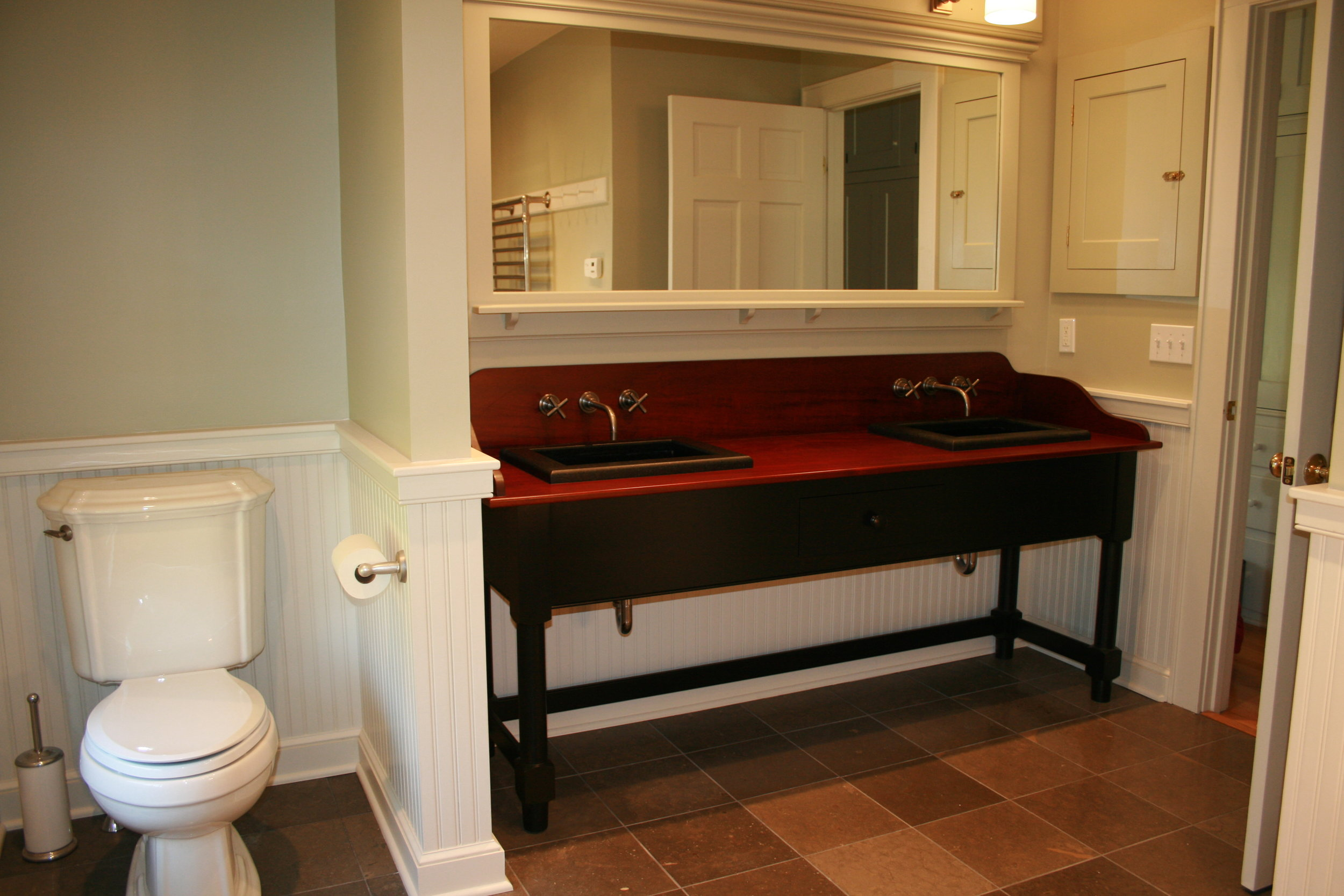 Shaker Vanity with Mahogany Top, Full Length Mirror, and Built-in Medicine Cabinets 2.jpg