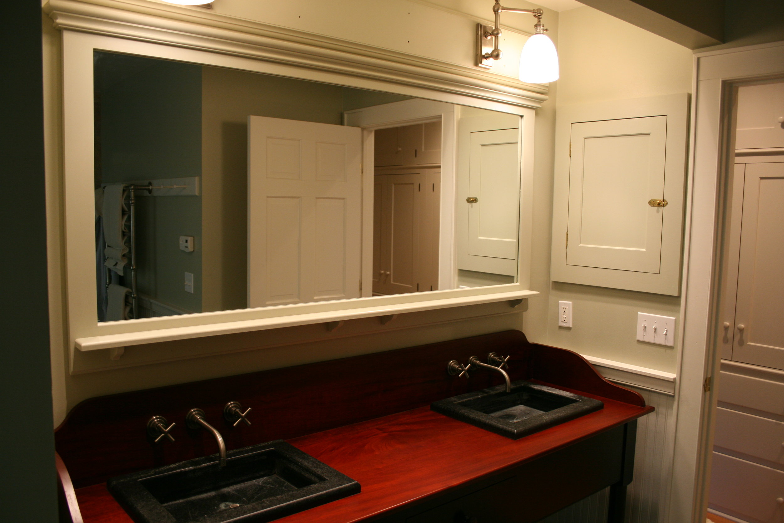 Shaker Vanity with Mahogany Top, Full Length Mirror, and Built-in Medicine Cabinets 3.jpg