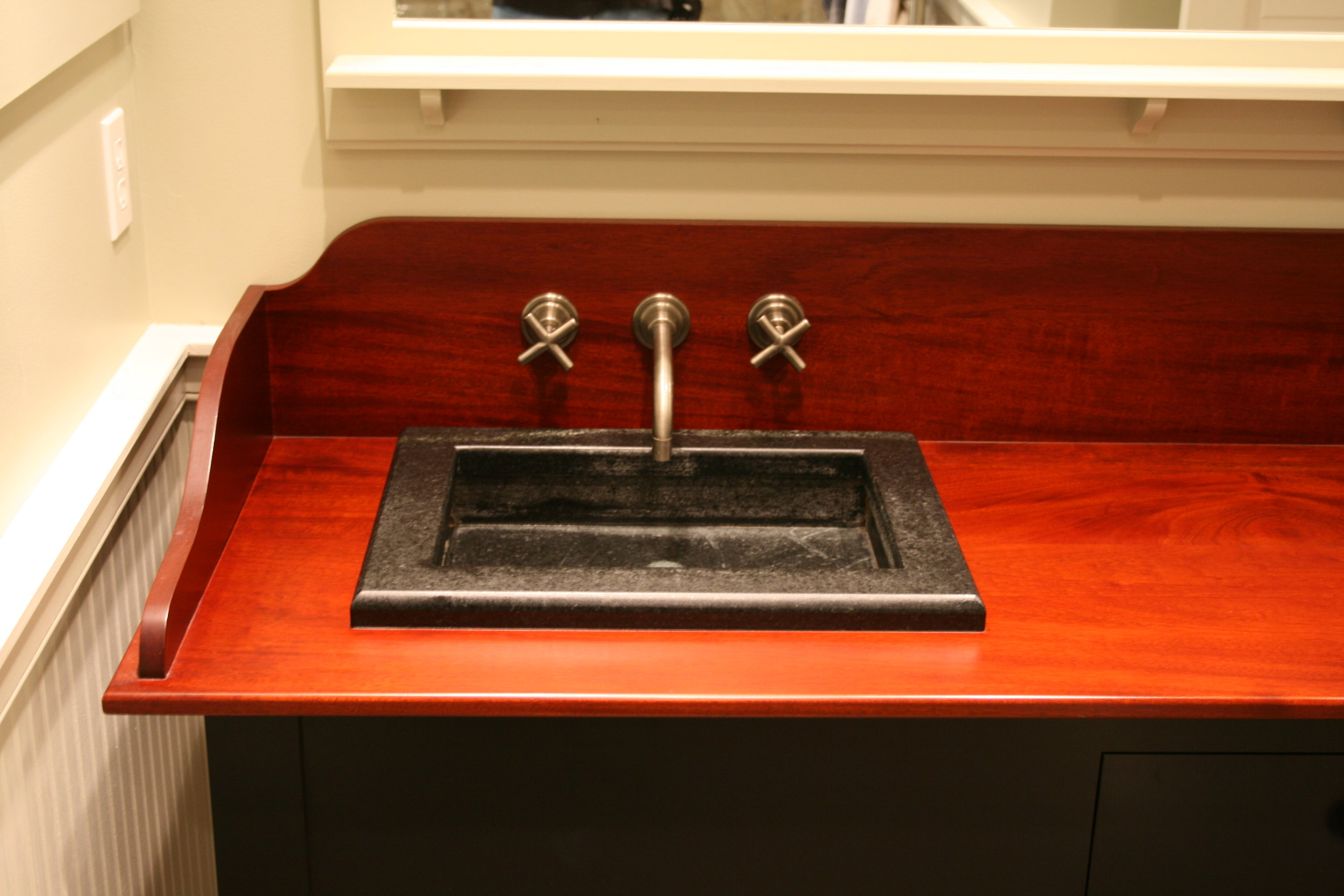 Shaker Vanity with Mahogany Top, Full Length Mirror, and Built-in Medicine Cabinets 5.jpg