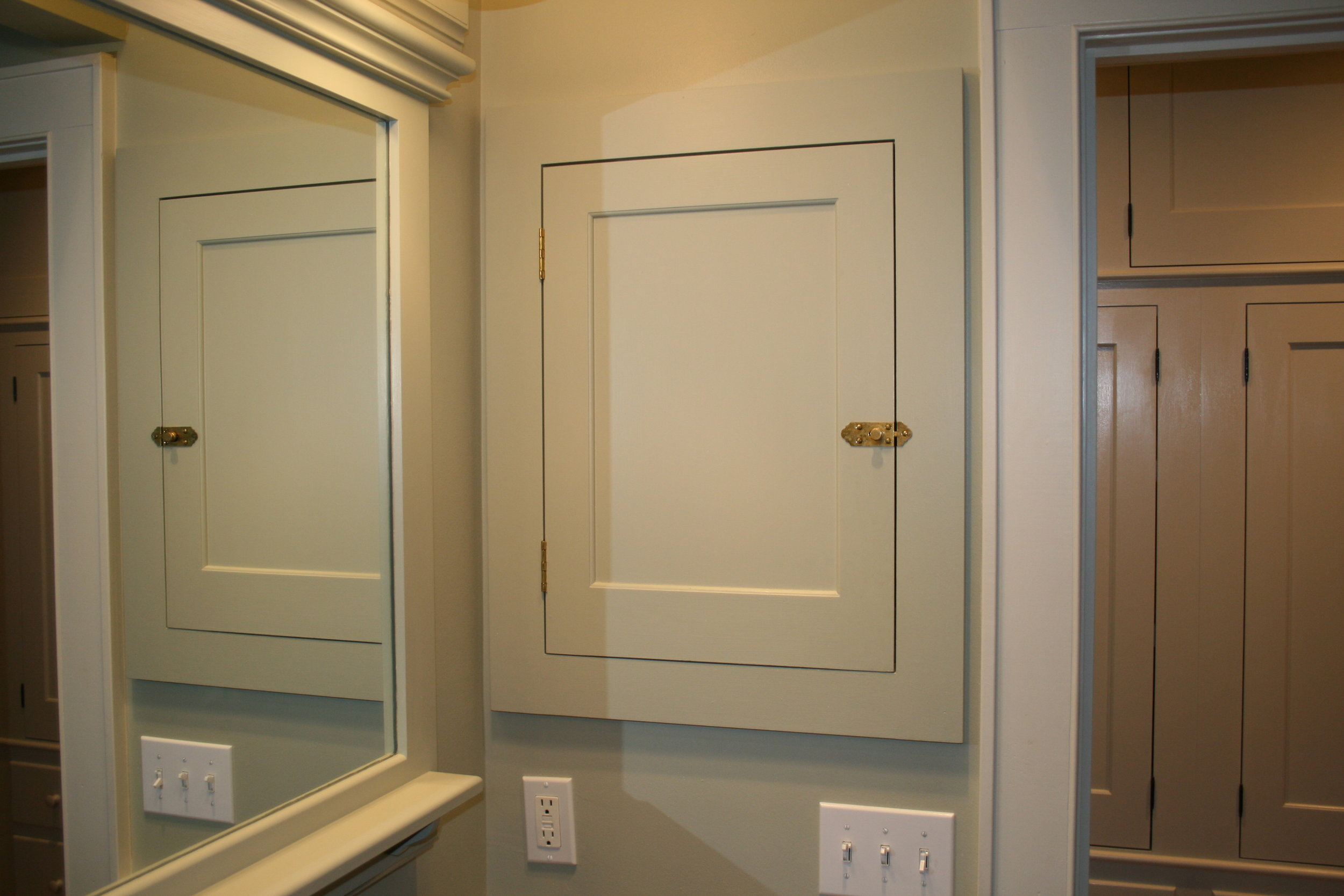 Shaker Vanity with Mahogany Top, Full Length Mirror, and Built-in Medicine Cabinets 6.jpg