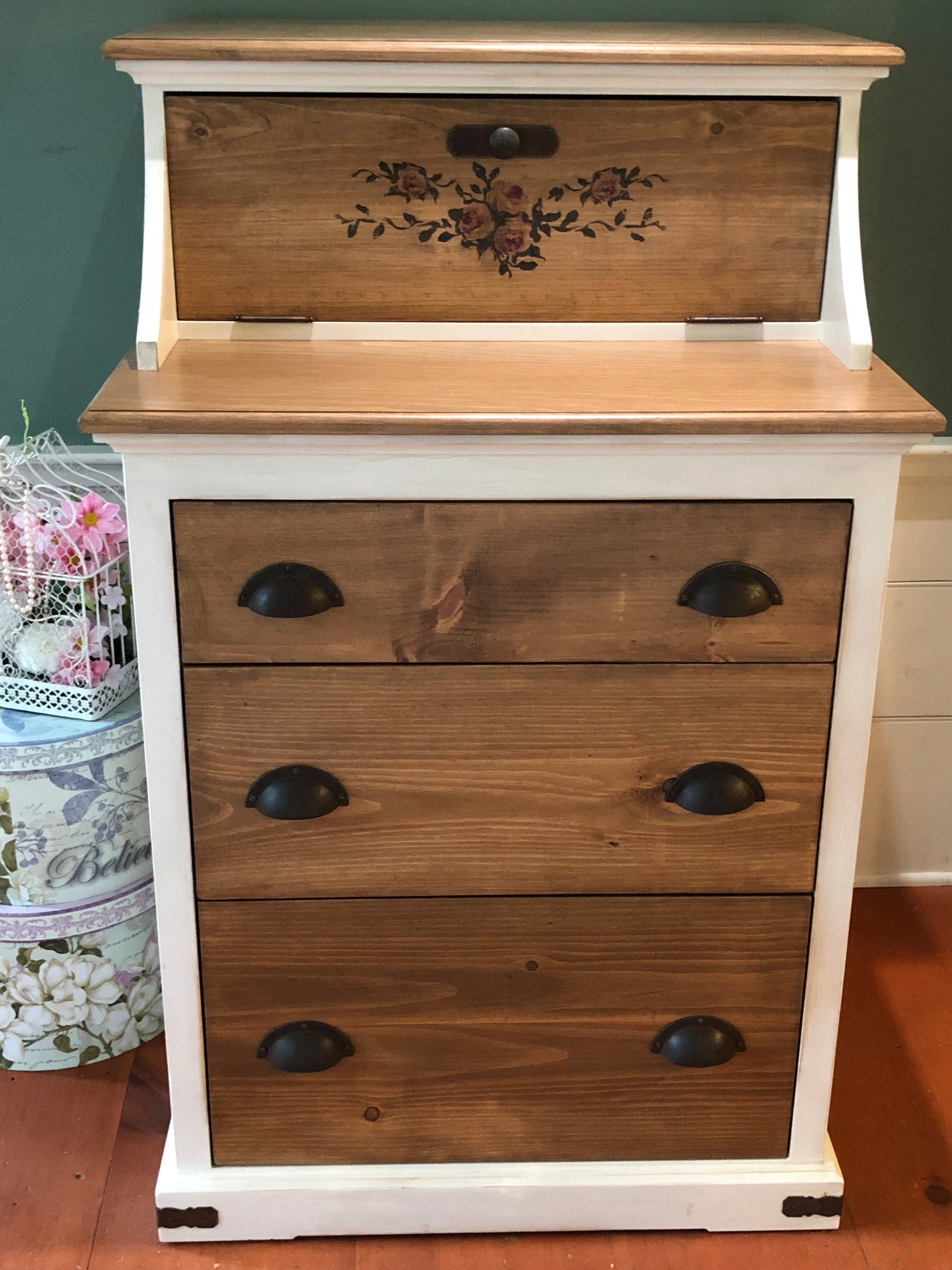 Vintage Storage Dresser with Rusted Iron Hardware and Crackle Finish 2.jpg