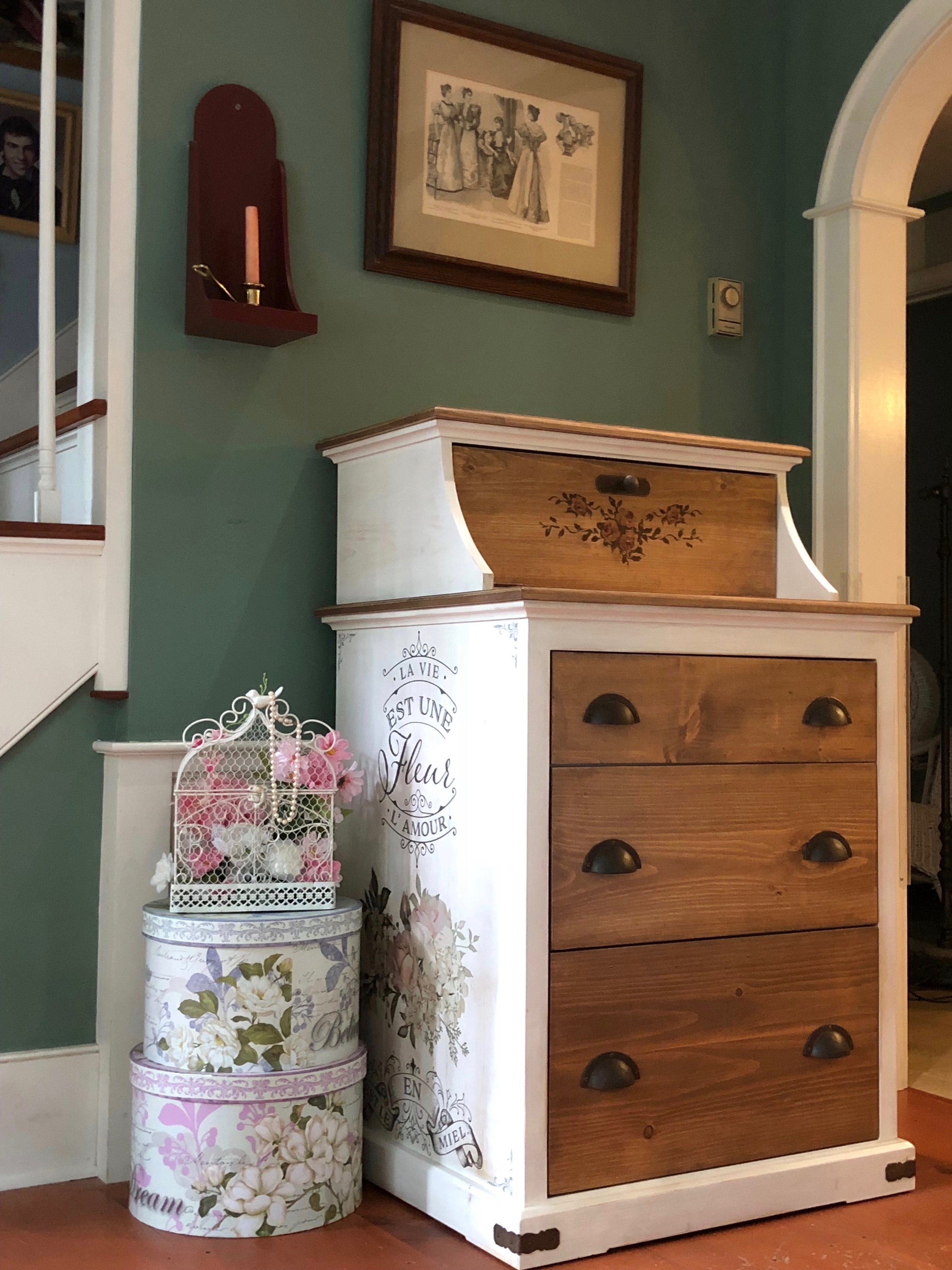 Vintage Storage Dresser with Rusted Iron Hardware and Crackle Finish 1.jpg