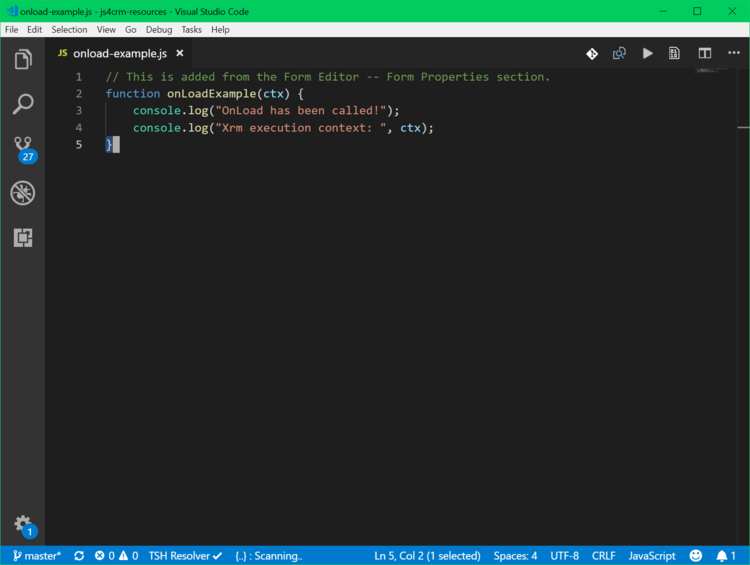 A very simple script that we'll load into the OnLoad event of Lead form.
