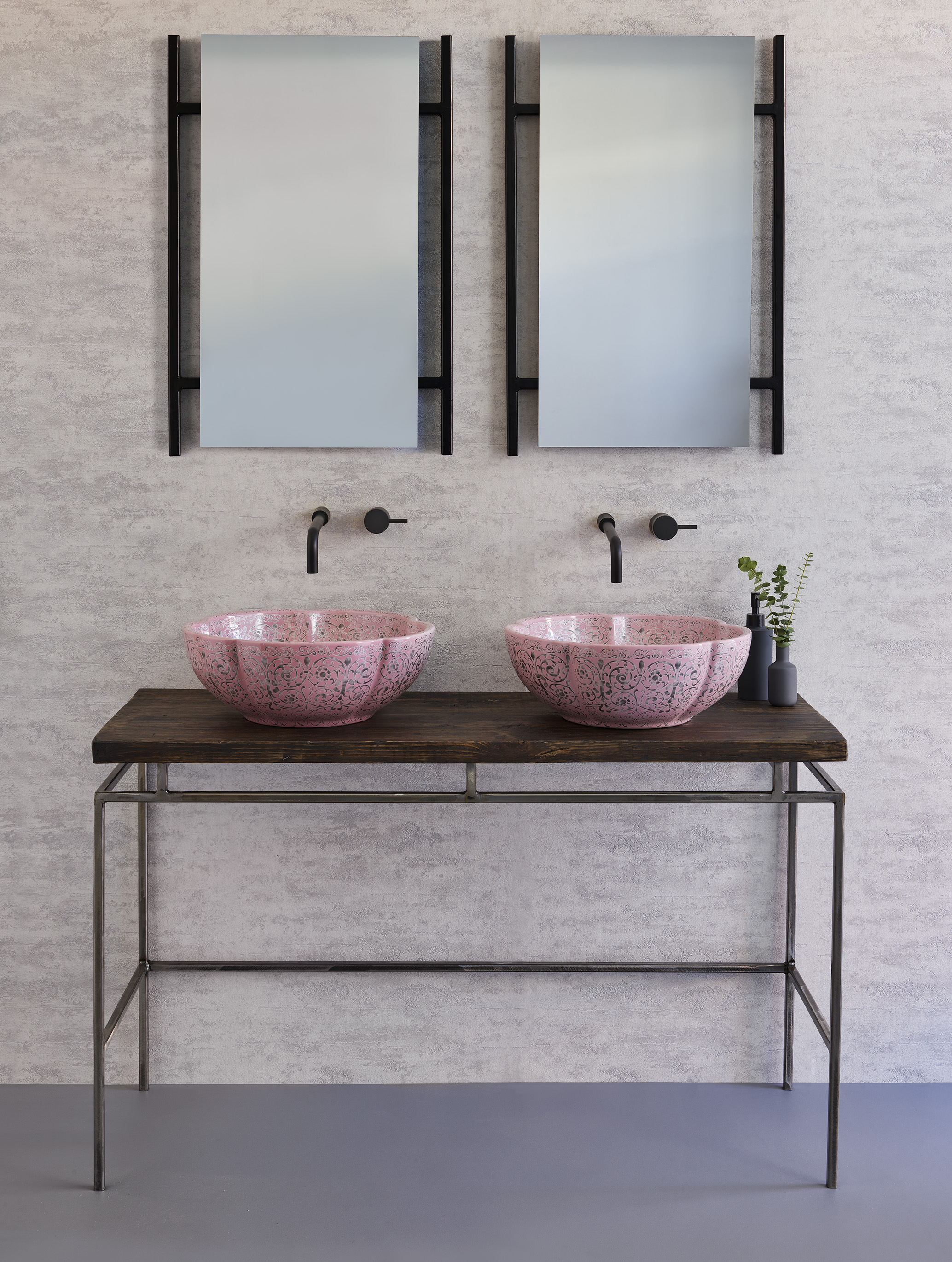 Austin Mirrors - To complete the look, pair the beautiful countertop wash-basins with an elegant co-ordinating handmade steel framed mirror from The London Basin company's Austin collection. Designed to sit in harmony with the delicate vanity units, the mirrors are available in black, gold, copper and industrial steel finishes, cleverly designed to frame the luxurious basins.