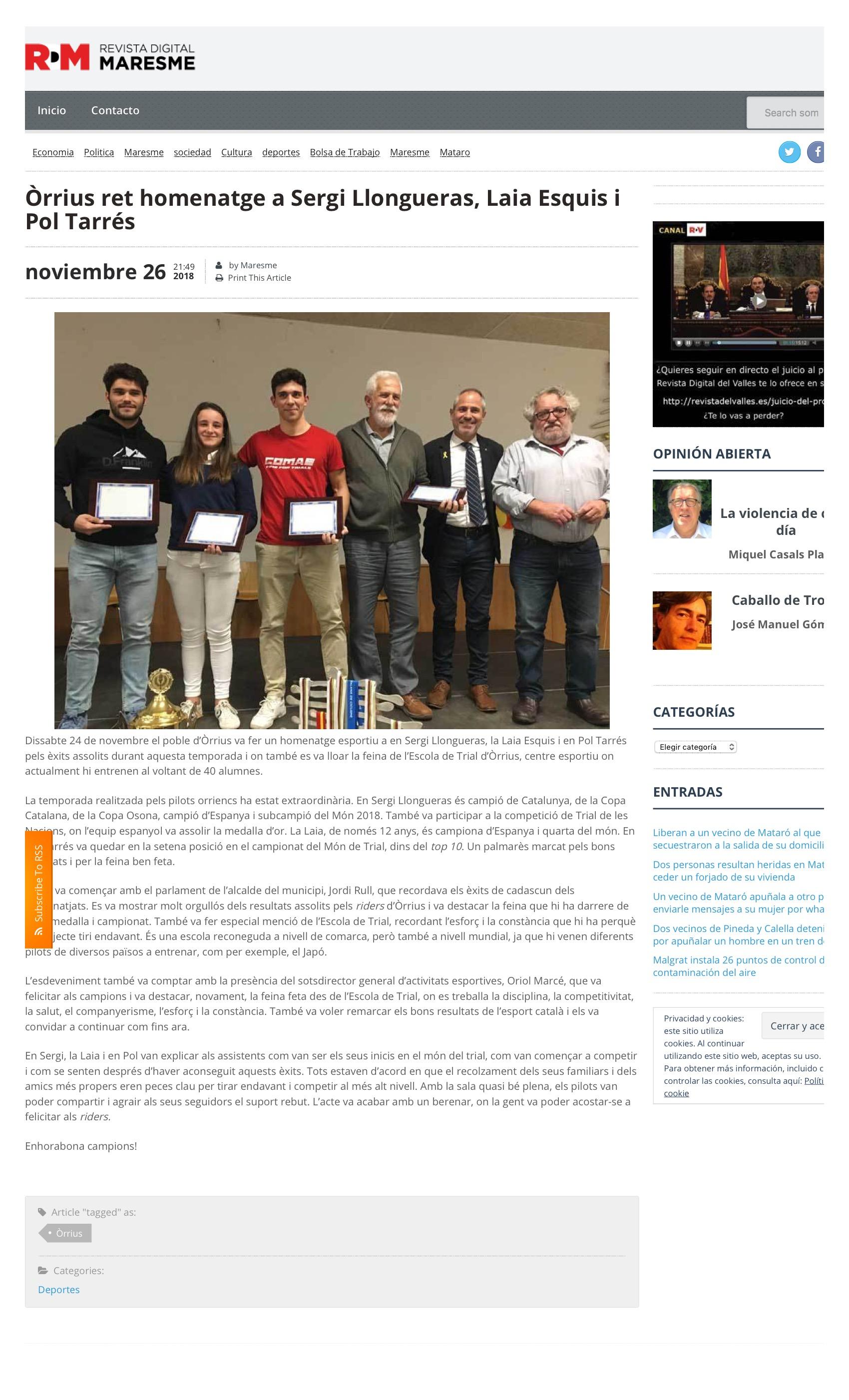 2018-11-26 Òrrius ret homenatge a Sergi Llongueras, Laia Esquis i Pol Tarrés | Revista Digital del Maresme 3.jpeg