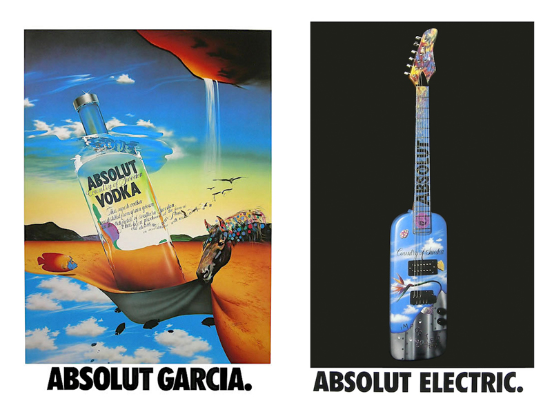 """ABSOLUT GARCIA - Absolut Vodka has been the most powerful, innovative and longest lasting ad campaign in the history of advertising. Around 1985 Andy Warhol created a screen print of the famous bottle and that lit the fuse of a major advertising campaign explosion. Five years later I was contacted to paint my version of the bottle which became """"Absolut Garcia"""". I suddenly saw this image in so many places. A year later on my own intuition, I had a working guitar built in the shape of the bottle. After I painted, it I sent a photo to the head of Carillon Importers, Michel Roux and he immediately bought it. This one instantly became """"Absolut Electric""""."""