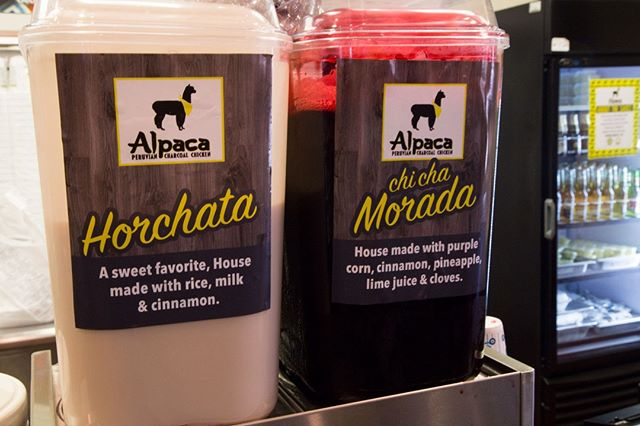 Looking to try something different today? Try out our Horchata 🥛 or Chi Cha Morada. Both drinks make a great addition to any meal.  #alpaca #horchata #chichamorada
