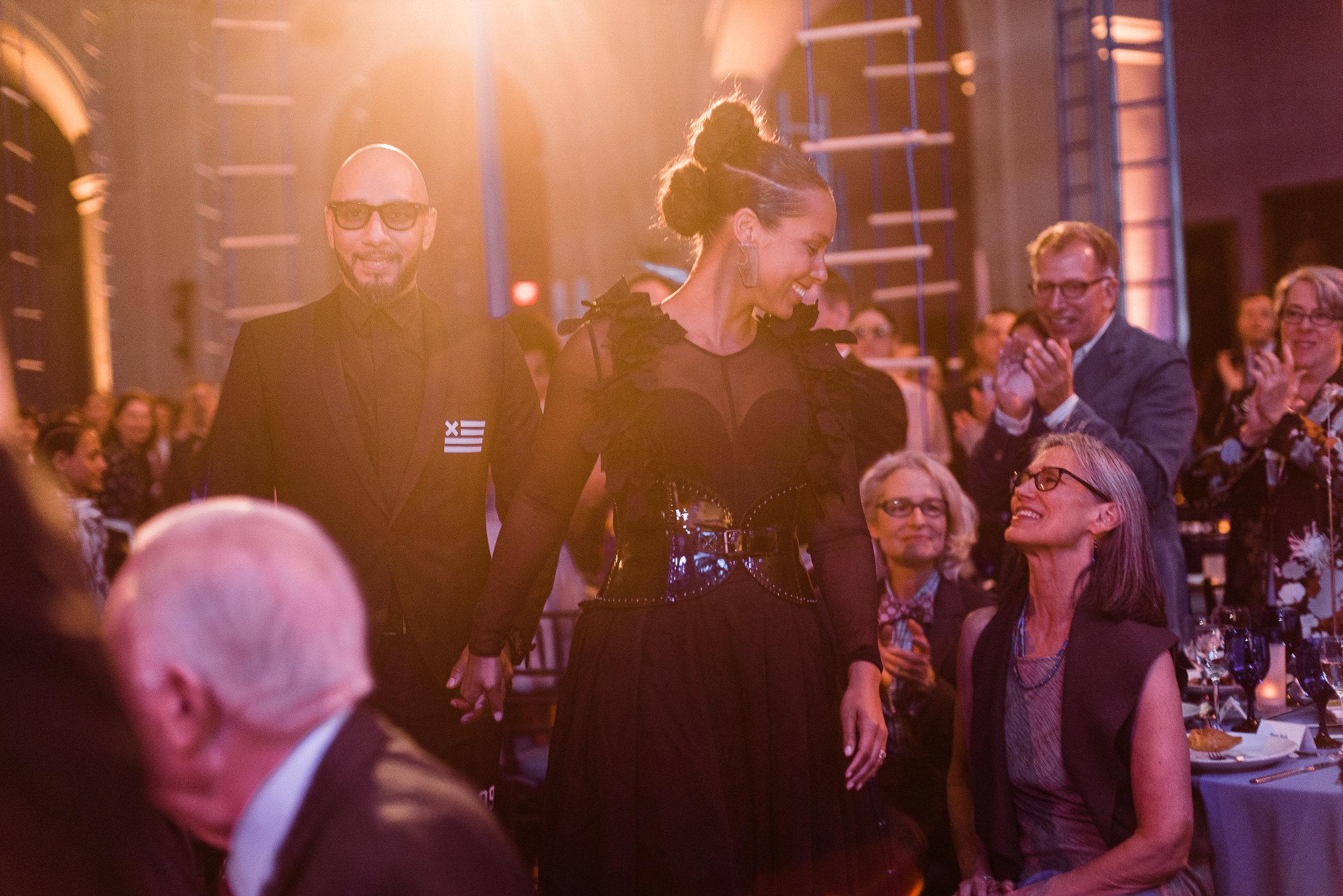 The Brooklyn Artists Ball at Brooklyn Museum 2017. Swizz Beats and Alicia Keys recieve their honorary award