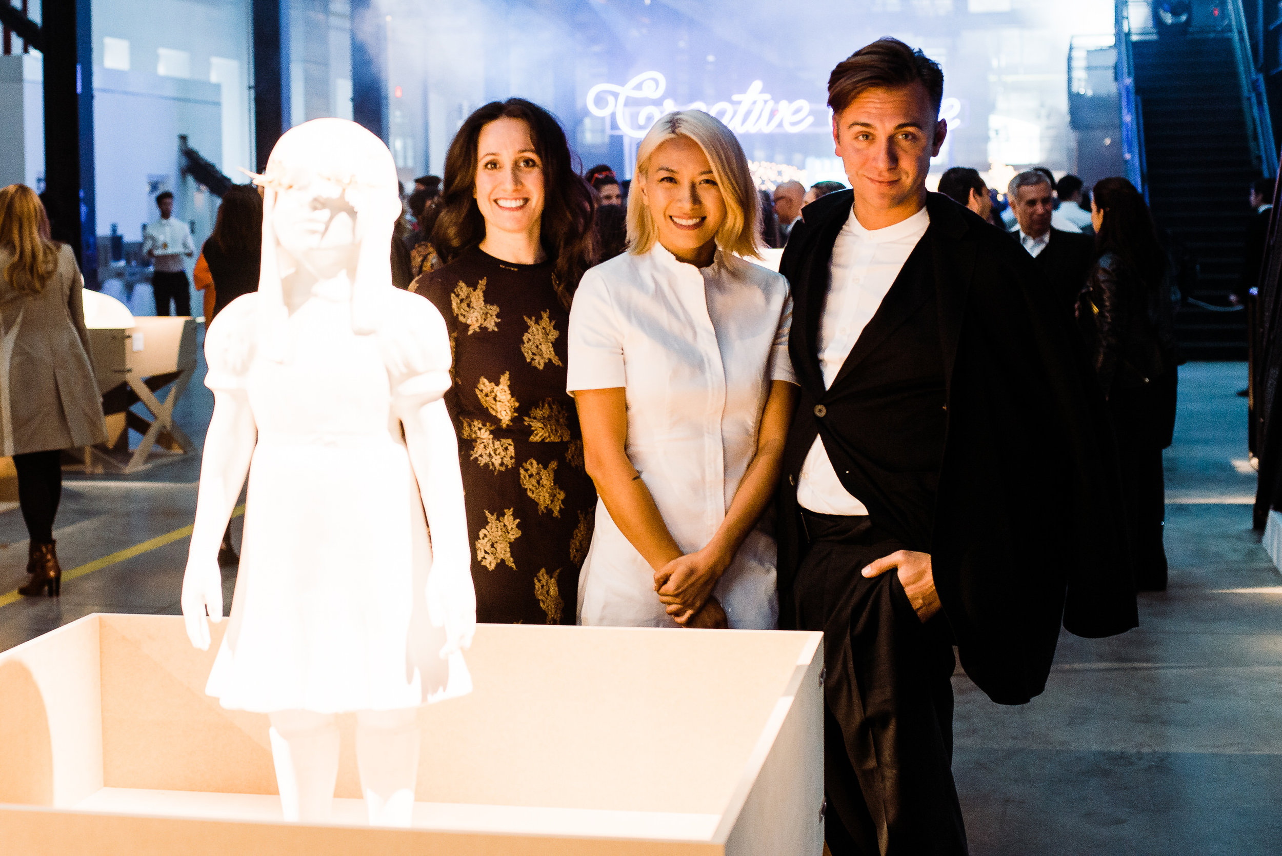 Event Designer Micky Balestrieri, Event  Producer May Kwok, and Liz Rosen at Creativetime Gala at Brooklyn Navy Yards