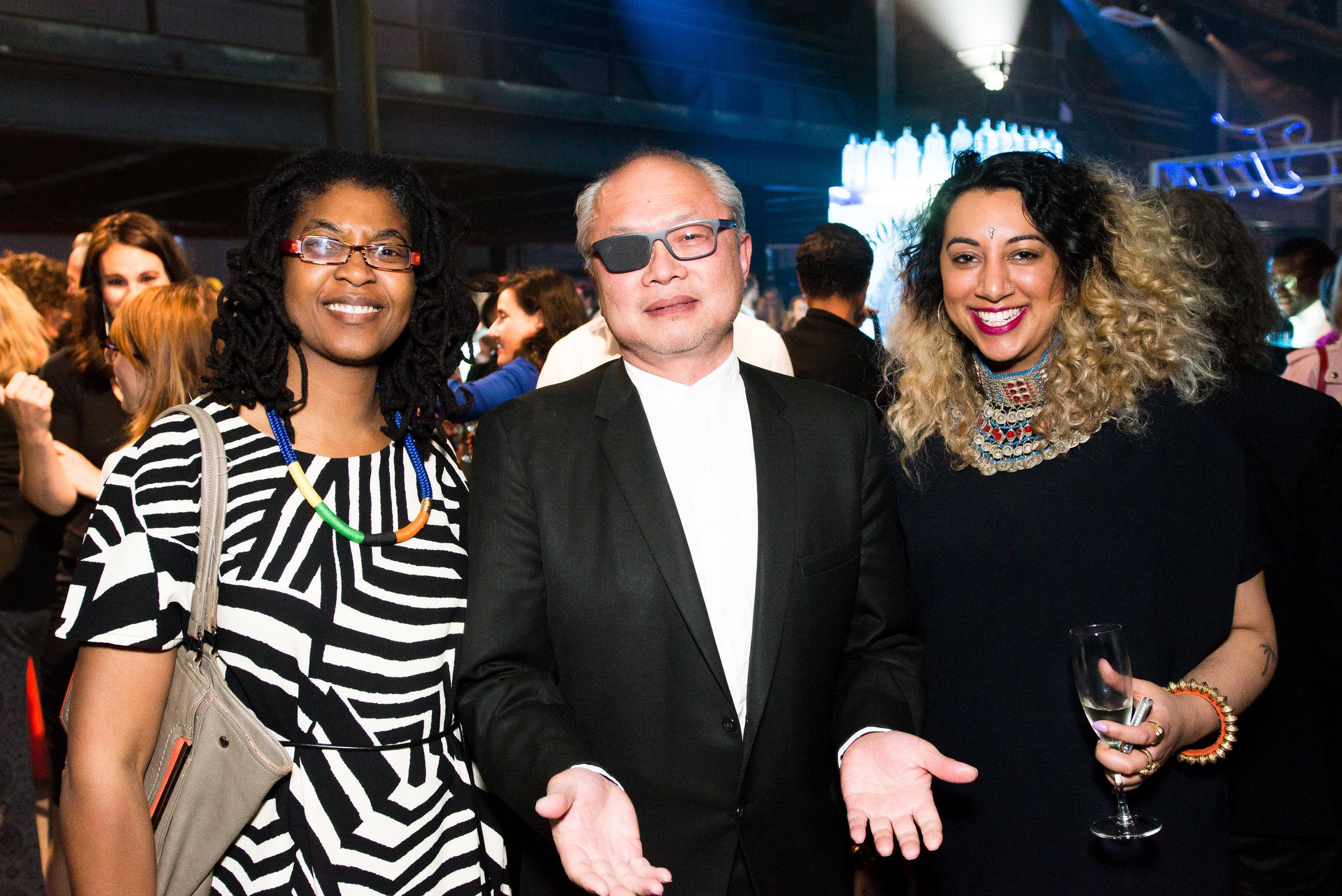 Kemi Liesanmi, Moe Chin and Diya Bij at Creativetime Gala at Brooklyn Navy Yards